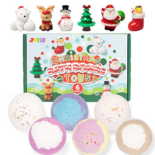Christmas Bath Bombs with Toys Inside, 6 Packs Bubble Bath Bombs Christmas Tree Ornament with Christmas Figure Toys, SPA Bath Fizzies Set, Great Gift Set for Birthday, Christmas for Boys and Girls