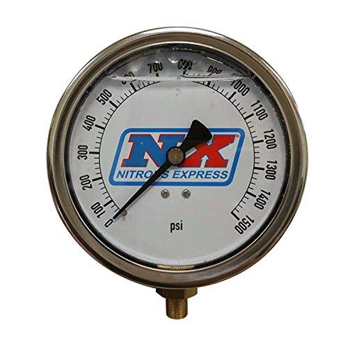Nitrous Express 15540 Nitrous Pressure Gauge 4 in. High Accuracy Liquid Filled Gauge 1/8 in. NPT Fitting Nitrous Pressure Gauge