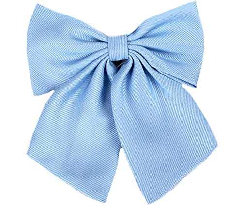 Flairs New York Women Handmade Pre-Tied Bowknot Bow Tie (Baby Blue [Stripes Texture])