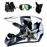 AA-Helmet TOKU Motocross Motorradhelme & Windschutzmaske & Handschuhe & SCHUTZBRILLE D.O.T Standard...