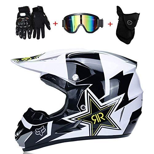 AA-Helmet TOKU Motocross Motorradhelme & Windschutzmaske & Handschuhe & SCHUTZBRILLE D.O.T Standard Kinder Quad Bike ATV Go-Kart-Helm Rock Star (S, M, L, XL),White,M57~58CM