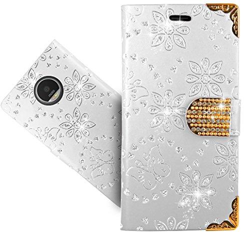 FoneExpert® Moto Z Play Handy Tasche, Bling Diamant Wallet Hülle Flip Cover Hüllen Etui Hülle Ledertasche Lederhülle Schutzhülle Für Lenovo Moto Z Play