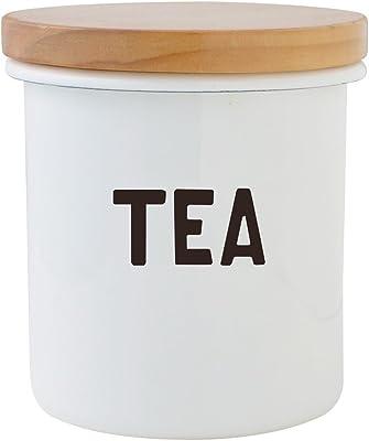 THE OLDE FARMHOUSE オールドファームハウス ホワイト ホーロー Sシリーズ 木蓋付き キャニスター TEA お茶 紅茶