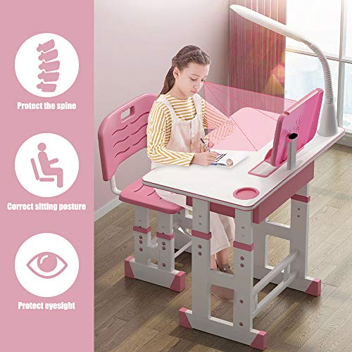 InLoveArts Kinderschreibtisch höhenverstellbar, Schreibtisch Kinder,Kinderschreibtisch Stuhl Kindertisch mit Stuhl Ergonomisch mit LED-Lampe,Leseständer,Schubladen Rosa