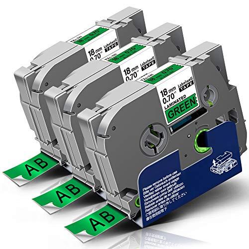 3x Labelwell 18mm Tzc-741 Negro sobre Verde Compatible Etiqueta Reemplazo para Brother TZ Tze-741 Tze741 para Brother P-touch CUBE PLUS PT-P710BT PT-P715eBT PT-D450VP PT-D450 PT-D600VP PT-E550W E500VP
