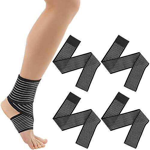 Calf Compression Bandage Adjustable Elastic Knee Brace Bandage Wrap Elastic Thigh Brace Compression Long Wrap Brace Support for Legs, Stabilising Ligament, Joint Pain, Sport, Black (4, 70 cm)
