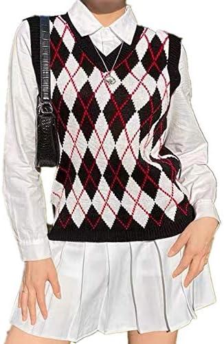 Argyle Sweater Vest Women y2k Plaid Knitted Streetwear Preppy Style V Neck Crop Knitwear School Tank Top for Girl