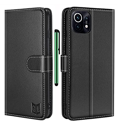 GoodcAcy Handyhülle für Xiaomi Mi 11 Leder Hülle,Xiaomi Mi 11 RFID-Schutz Tasche,Premium Schutzhülle Flip Wallet Hülle Klapphülle Handytasche für Xiaomi Mi 11,Schwarz