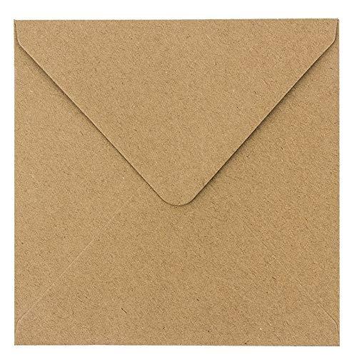 Buste in carta kraft, 100 pezzi, alta qualità: 110 g/m2, buste per biglietti di auguri, inviti 17 x 17 cm