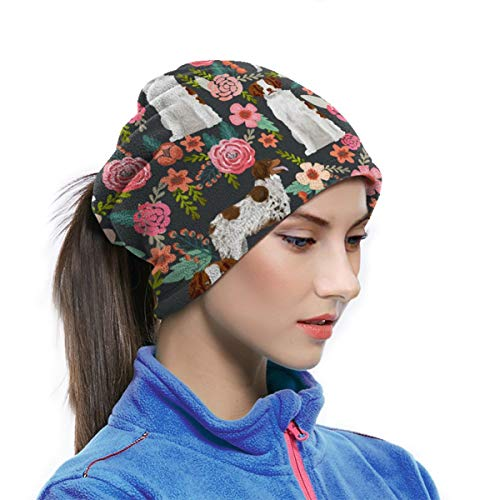 Multifunctionele Nek Warmer Xmas Present Winddicht Gezichtsmasker Winter Snood Sjaal Loop Wikkel Outdoor Fietsen Hoed Sjaals voor Mannen of Vrouwen| Bretagne Spaniel Bloemen Houtskool