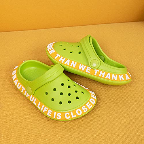 COQUI Clogs Hombre,Nuevos Zapatos de Cueva Zapatillas para Hombres Zapatos de Playa de Verano para Mujer Sandalias Antideslizantes para Mujer Marea con Parejas Sandalias Zapatillas-Verde_220mm