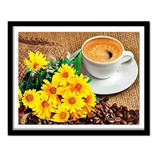 Cuentas de bordado flor y taza de café bordado de diamantes accesorios de patchwork patrón de diamantes costura50 * 60