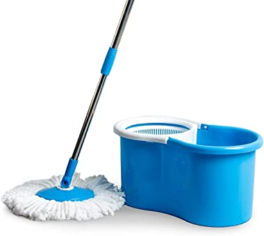 Generic Spin Mop with Easy Wringer and Plastic Bucket for Magic 360 Degree Moving with Handle with Easy Cleaning (Color May V