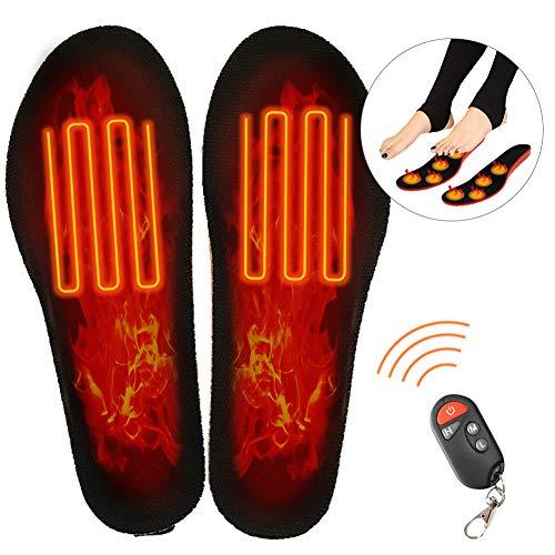 Électrique Semelles,Chauffantes avec Télécommande,Chauffe-Pieds D'Hiver,SemellesChauffantes éLectriques,Hiver Hommes Femmes Chaussures Chauffantes Semelles USB De ChargeTaille Ajustable Ski (L)