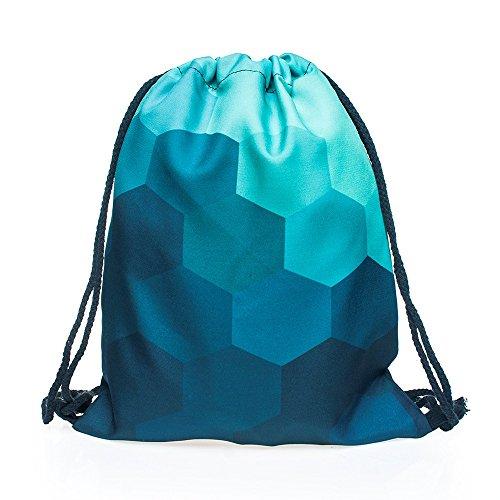 Sac vert imprimé heksagon fullprint gymsac sac de sport pour fitness jutebeutel print bag