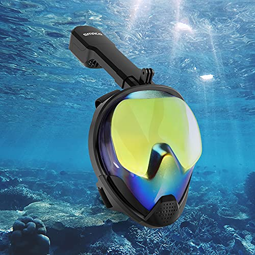 Full Face Snorkel Mask for Adults Snorkeling Mask with Detachable Camera Mount Anti-Fog&Anti-Leak Snorkel Mask 180° Panoramic View Swim mask Snorkel Set with UV Protectionand and Latest Dry Top System