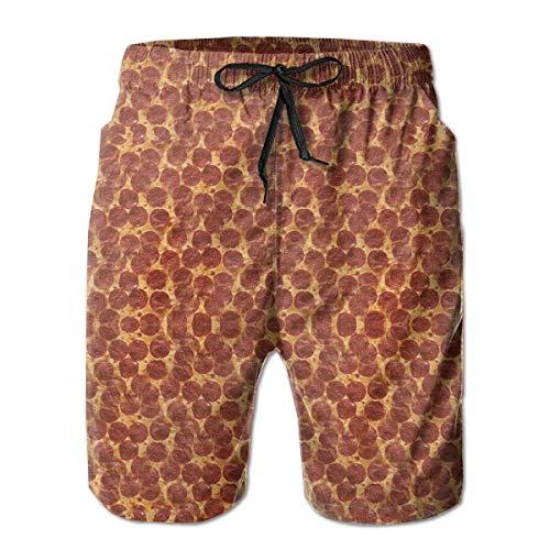 Jiger Ham Pizza Party Mens Swim Trunks Quick Dry Summer Surf Beach Board Shorts Pants