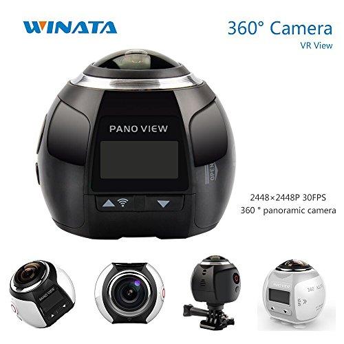 4K 360 Action Camera Panoramic Camera 24482448 Ultra HD Panorama 360 Degree Video Cameras Deportiva Wifi Sport Cam Driving VR Camera--Black