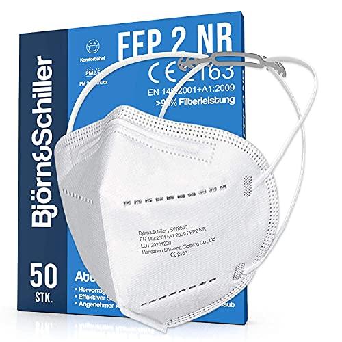 FFP2 Masken 50 Stück NR, Atemschutzmaske weiss ohne Ventil, 10x Kopfband-Verlängerung und 50x Nasenpolster 4-lagig CE 2163 zertifiziert, Mundschutz & Nasenschutz medizinisch, Schutzmasken + Halterung