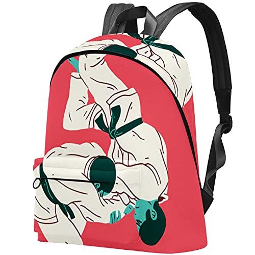 Staroutah zaino bookbag daypack borsa da scuola escursionismo zaino in spalla ad alta capacità e carino all'aperto Impara Taekwondo Wrestling per donne e uomini