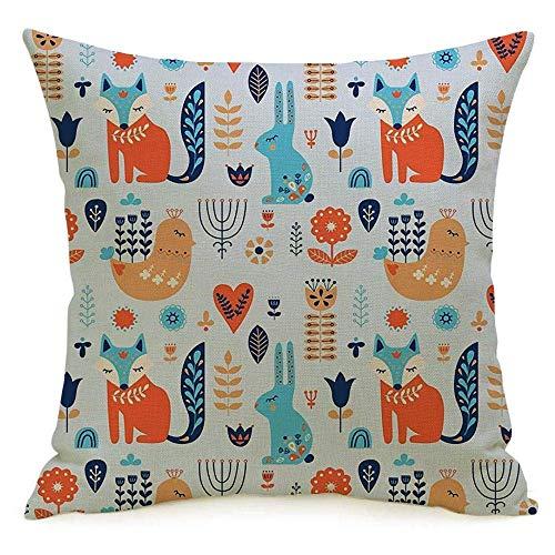 Funda de almohada decorativa de lino con diseño cuadrado, adornos nórdicos noruegos, patrón tradicional danés, con estampado de animales, pájaro, flor, vida silvestre, funda de almohada, cojín para so