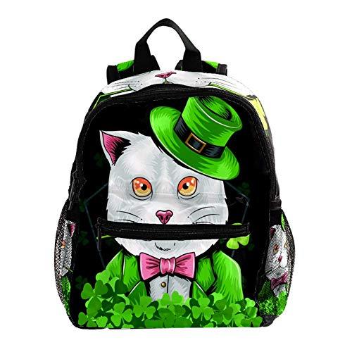 Rucksack 3-8 Jahre Grüner Anzug Cat Kids Backpack wasserdicht Toddler Kinderrucksack für Vorschule Kindergarten und Reise Baby Wickeltasche 25.4x10x30CM