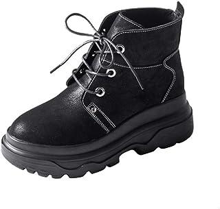 [HR株式会社] 厚底ブーツ 黒 レディース 歩きやすい ショート丈 マーティンブーツ レースアップ スニーカー 約6.5cmヒール