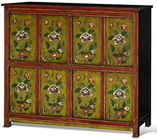 ChinaFurnitureOnline Elmwood Cabinet, Hand Painted Floral Motif Tibetan Style High Chest Distressed Yellow and Red