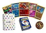 Paquete de 25 tarjetas de papel de Pokémon Reverse Foil Grab Bag Lot! Incluye caja de 60 unidades y monedas de Pokémon