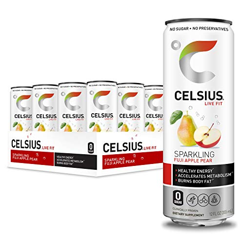 CELSIUS Sparkling Fuji Apple Pear Fitness Drink, Zero Sugar, 12oz. Slim Can (Pack of 12)