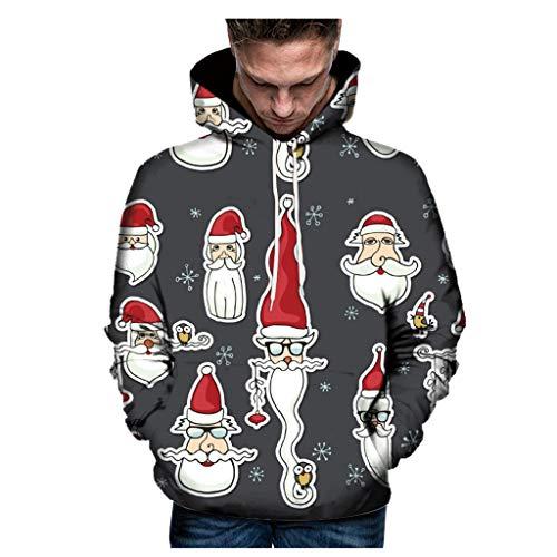 YXIU Unisex Weihnachtspulli Pullover, 3D Print Langarm Hoodies Pullover Weihnachts Kapuzenpullover Party Bluse Top Sweatshirt Weihnachtspullover