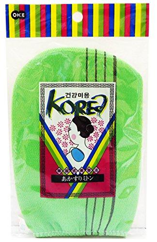 オーエ アカスリ ミトン グリーン 約縦18×横13cm 韓国式 あかすり ボディタオル 風呂 体洗い