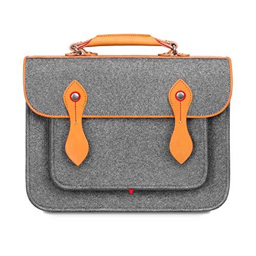 TOPHOME Damen Aktentasche Laptop Tasche Rucksack Bookbags Messenger Bag Wollfilz Schultergurt Tasche für 15,4 Zoll MacBook Notebook/Tablet/Acer/HP/Dell/Lenovo usw. (Grau)