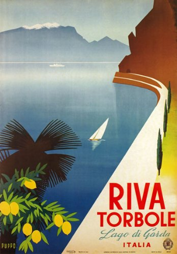 "TV03 Vintage 1950's Italian Italy Riva Torbole Lake Garda Travel Poster Re-Print - A2+ (610 x 432mm) 24"" x 17"""