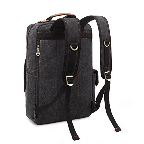 BLUBOON Rucksack Vintage Backpacks Canvas School Unisex Bags with Large Capacity for Outdoor/Hiking/College (Black)