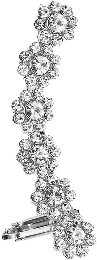 Dainty Plum Flower Ear Cuffs Wraps Earrings for Women Girls Stud and Clip on Back Non Pierced Ears Crawler Climber Hoop Cartilage Earring Hypoallergenic Cubic Zirconia