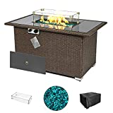 """Brafab Outdoor 44"""" Propane Fire Pit Table with Glass Top and PE Wicker Frame, ETL Certification 50,000 BTU Auto-Ignition Gas Fire Pit Table with Glass Wind Guard, Waterproof Cover (Brown)"""