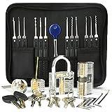 IPSXP Kit de Crochetage Serrure 18 Pièces, Kit De Lock Picking avec 4 Serrures, Outils D' entraînement Transparents Cadenas avec Housse de Transport pour Serruriers Débutants et Professionnels