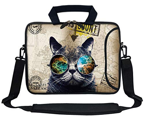Meffort Inc 13 Inch Neoprene Laptop Bag with Extra Side Pocket Fits for 12.5 to 13.3 Inch Size Computer - Cool Cat