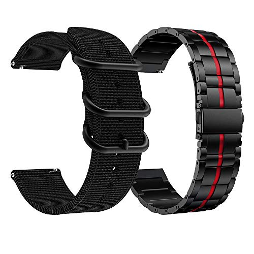 AWMES Compatible con bandas Fossil Gen 5 Carlyle, banda de repuesto de 22 mm para Fossil Gen 5 Carlyle HR/Garrett, Gen 4 Explorist HR, Explorist Gen 3 Smart Watch (negro y rojo + negro)