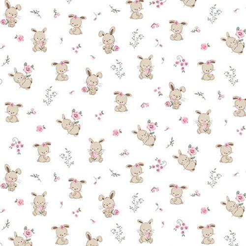 Herz Stoffe Österreich Tela de algodón para niñas de 0,5 m, con bonitos ositos y flores en color blanco, no se vende por metros, tejido Ökotex, diseño de animales