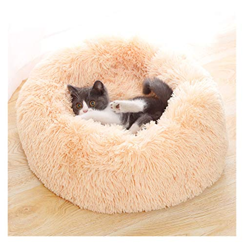 Suave Peluche Super Suave Bed Bed Kennel Redondo Bolsa de dormir Lazy Cat House Cálido Invierno Sofá Cesta Pequeño Perro Medio Medio Para cachorros y gatitos ( Color : G , Size : XXL Diameter 100cm )