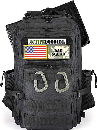 ACTIVEDOODIE Dad Diaper Bag Backpack with Changing Pad, Expandable Mens Diaper Bag for Dad, Black with Dad Squad Patches