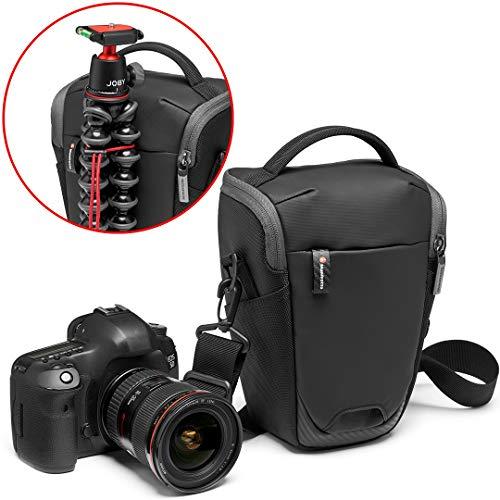 Manfrotto MB MA2-H-M Advanced² M, mittelgroßer Halfter für DSLR/CSC Kameras mit Standardobjektiv, mit abnehmbarem Schultergurt, Stativbefestigung, beschichteter Stoff