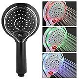 Hakeeta LED Duschkopf mit Automatischem Farbwechsel-Licht und Temperatur Display. Handbrausekopf für Badezimmer, Keine Stromversorgung Erforderlich