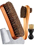 3 Pieces Horsehair Shoe Polishing Dauber Kit Shine Brush Shoe Care Applicators, Brown, 6.7 x 4.7 x 1.96 inches