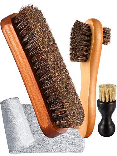 4 Pieces Horsehair Shoe Shine Brush Kit Polishing Dauber Care Applicators with Microfiber Buffing Cloth for Shoes Leather Boot Cloth Bag Care (A)