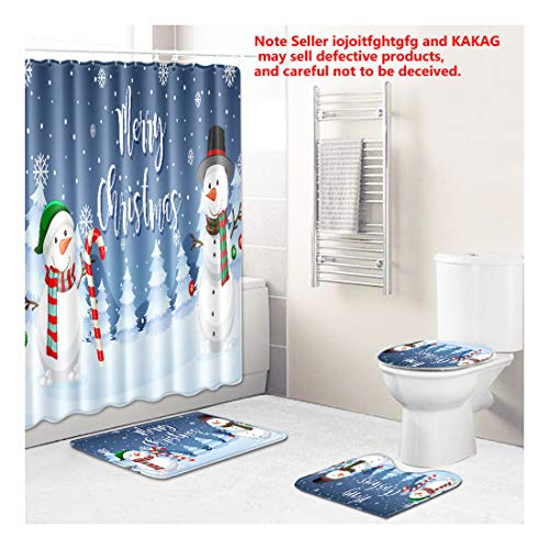 4 Piece Merry Christmas Snowman Shower Curtain Sets with Non Slip Rugs, Toilet Lid Cover and Bath Mat Christmas Decorations Bathroom 71 x 71 + 30 x 18inch