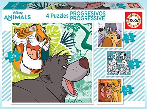 Educa Borrás-Puzzles Progresivos de 12, 16, 20 y 25 piezas, Disney Animals, a partir de 36 meses (18628) , color/modelo surtido