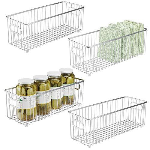 mDesign Juego de 4 cestas de metal – Versátil cesto de alambre multiusos para cocina o despensa – Organizadores de cocina alargados y universales con asas – plateado